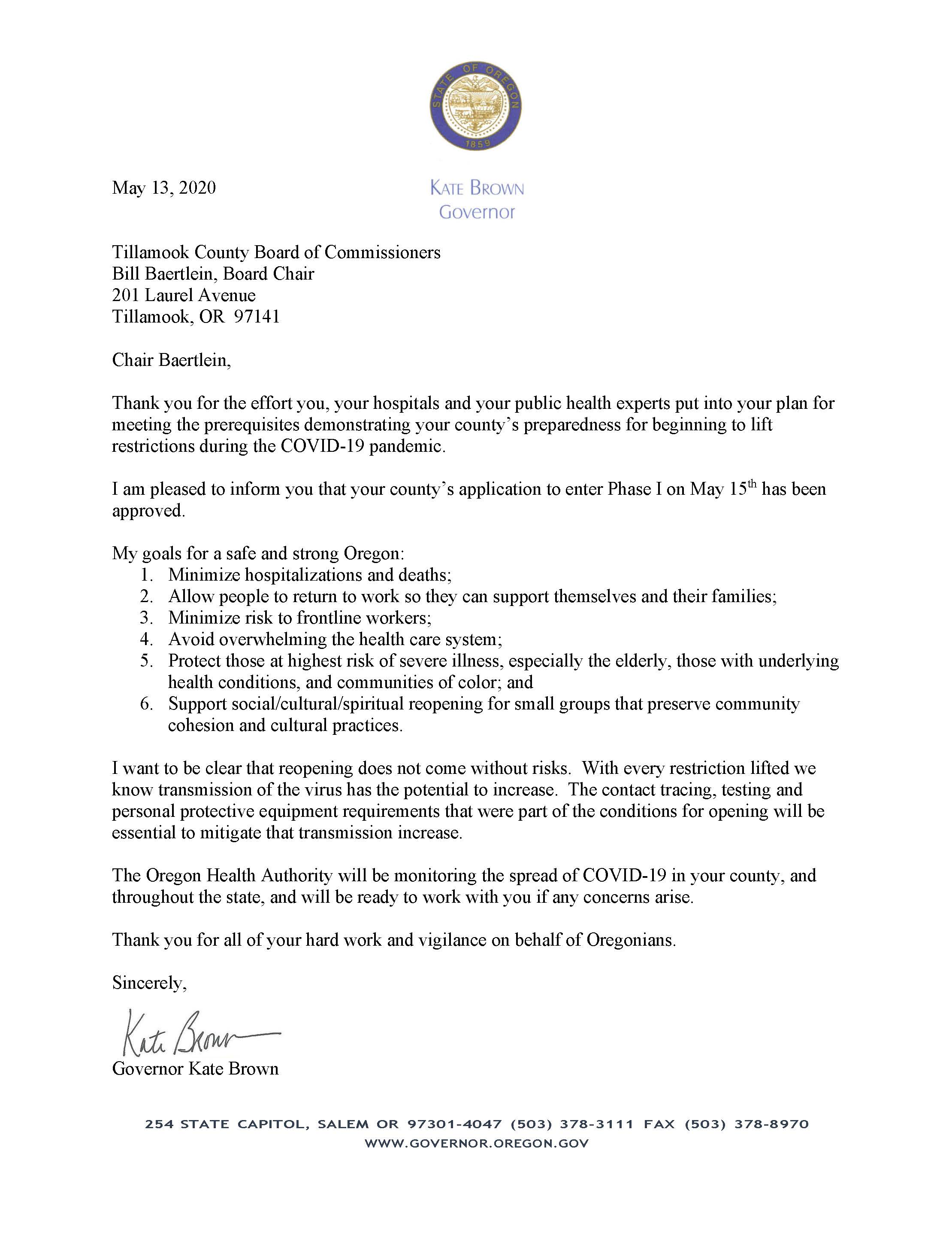 05.13.20_letter to Tillamook County, approval phase one